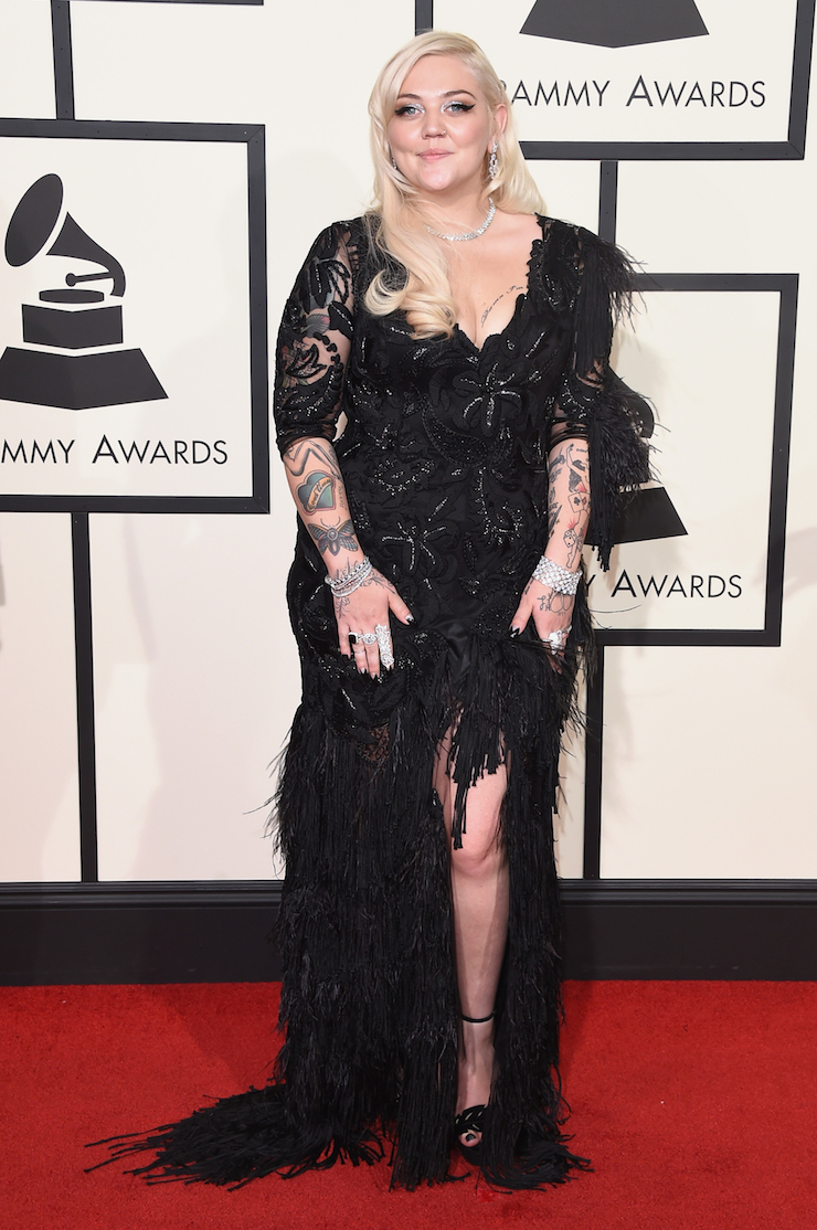 Courtney skin and sequins grammys 2016 fashion the new for Elle king s wedding dress