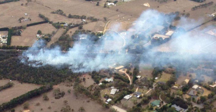 An aerial shot of the Somerville fire.