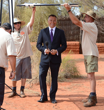 Mr Grant hosts the first broadcast of the launch of National Indigenous Television in Uluru, in 2012.