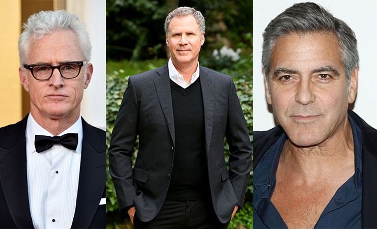 John Slattery, Will Ferrell and George Clooney are able to carry off the salt-and-pepper look. Photo: Getty