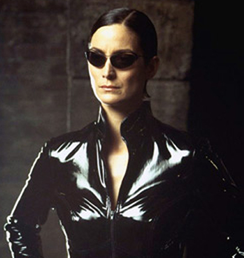 Trinity from 'The Matrix' movie depicts the hackers.