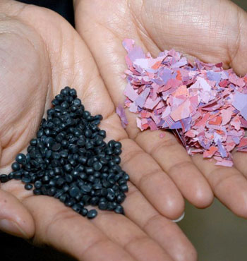 Old banknotes are first shredded, and then melted into pellets that can be recycled.