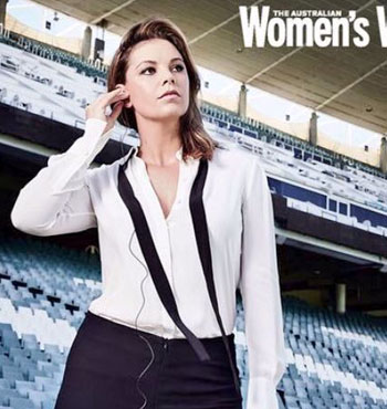 Posing for the Australian Women's Weekly for a section on women in sport journalism.