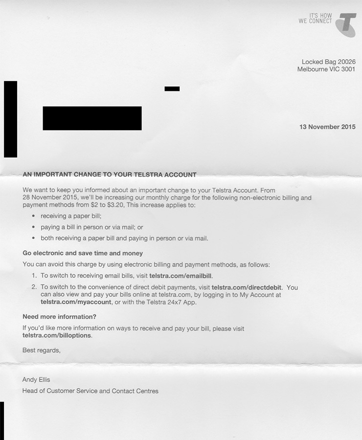 A letter sent to a customer to announce the fee hike.
