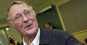FILE -- Photo taken in Sept. 4, 2002 shows Ingvar Kamprad the founder of Swedish furniture store Ikea during the inaugeration of the Ingvar Kamprad Design Center in Lund, Sweden. Ingvar Kamprad has recently expressed worries about Ikea expanding too fast and the risk that the company will have to close stores during an economic downturn. Ikea opened the first store in 1958 in Aelmhult, Sweden and now has more than 140 stores in 22 countries.(AP Photo/Ingvar Andersson) SWEDEN OUT