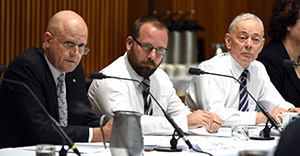 (L-R) Independent Senator David Leyonhjelm, Australian Motoring Enthusiast Party Senator Ricky Muir and Family First Party Senator Bob Day at a Senate Hearing into electoral reform at Parliament House in Canberra on Tuesday, March 1, 2016. (AAP Image/Mick Tsikas) NO ARCHIVING