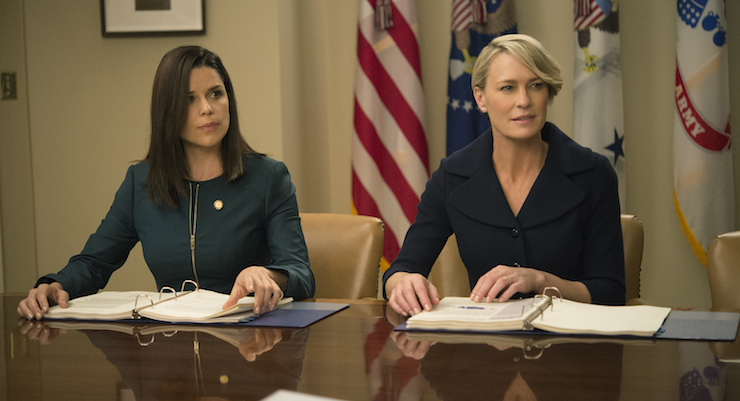 Neve Campbell (left) joins the cast as a political strategist. Photo: Netflix