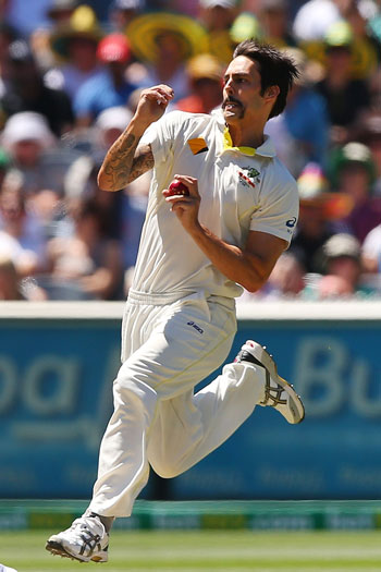 Johnson was never more fearsome than in the 2013/14 Ashes, when he claimed 37 wickets with some awesome pace bowling. Photo: Getty