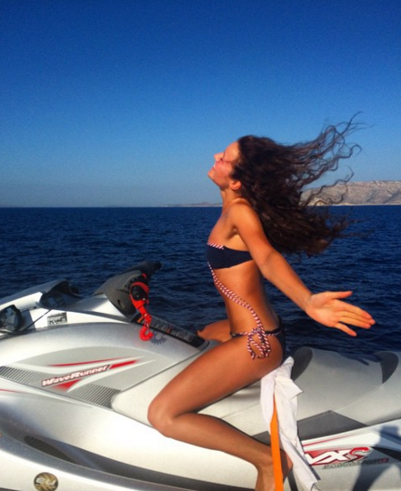 A picture of Ms Andrersen jet-skiing in Greence is the hint at her personal fortune. Photo: Instagram