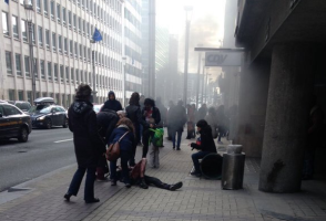 A photo from outside Maalbeek station showing smoke. Photo: Twitter