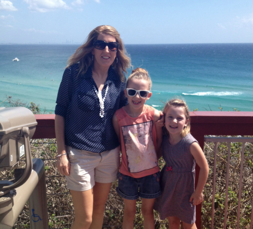 Alanna with her two children, who she decided to take with her to chemotherapy. Photo: Supplied