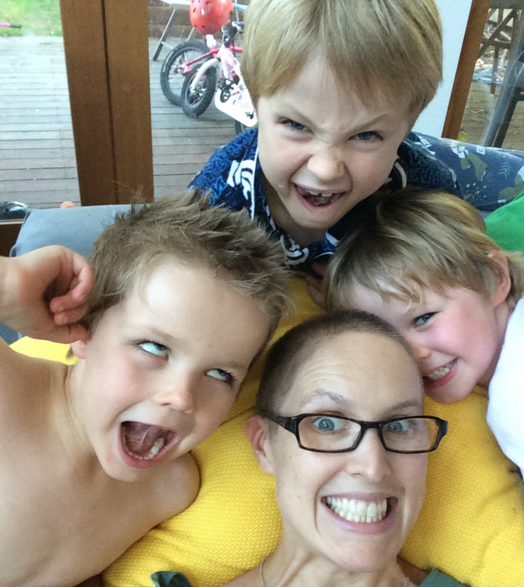 Kate Harcourt with her three kids. Photo: Supplied