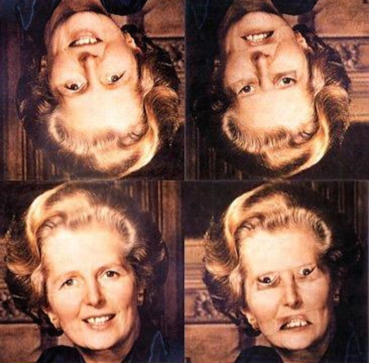 The Thatcher Illusion: at left, the unaltered photos, at right the altered photos. The top right photo appears normal.