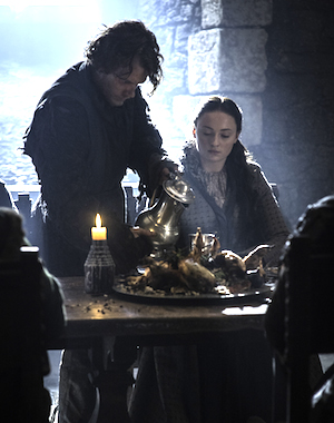 Allen as Theon Greyjoy with co-star Sophie Turner as Sansa Stark. Photo: HBO