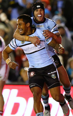 Ben Barba (L) and Jack Bird will hope to do more celebrating this year. Photo: Getty