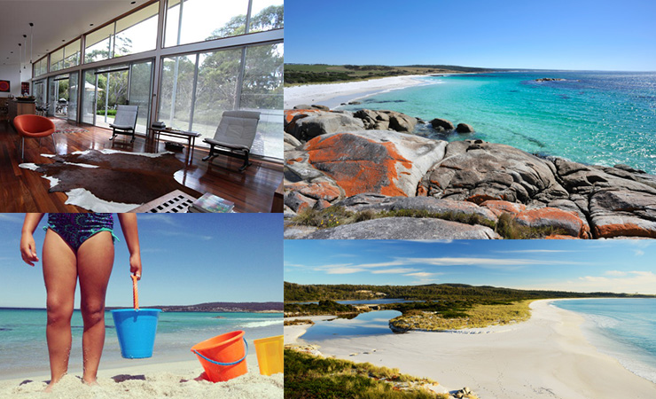 Clockwise from top left: the Arthouse, a Bay of Fires beach, Sloop Lagoon, a beach holiday suitable for the whole family.