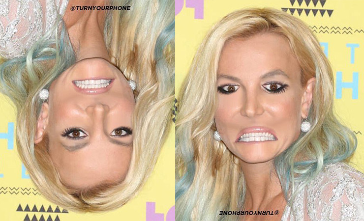 Britney Spears looks far better when upside down. Photo: TurnYourPhone/Twitter