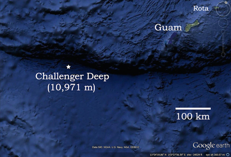 An ocean map showing the location of the Challenger Deep. Photo: Oregon State University