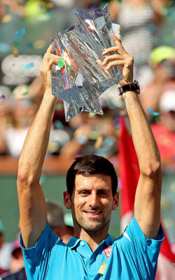 Djokovic celebrates his Indian Wells victory. Photo: Getty