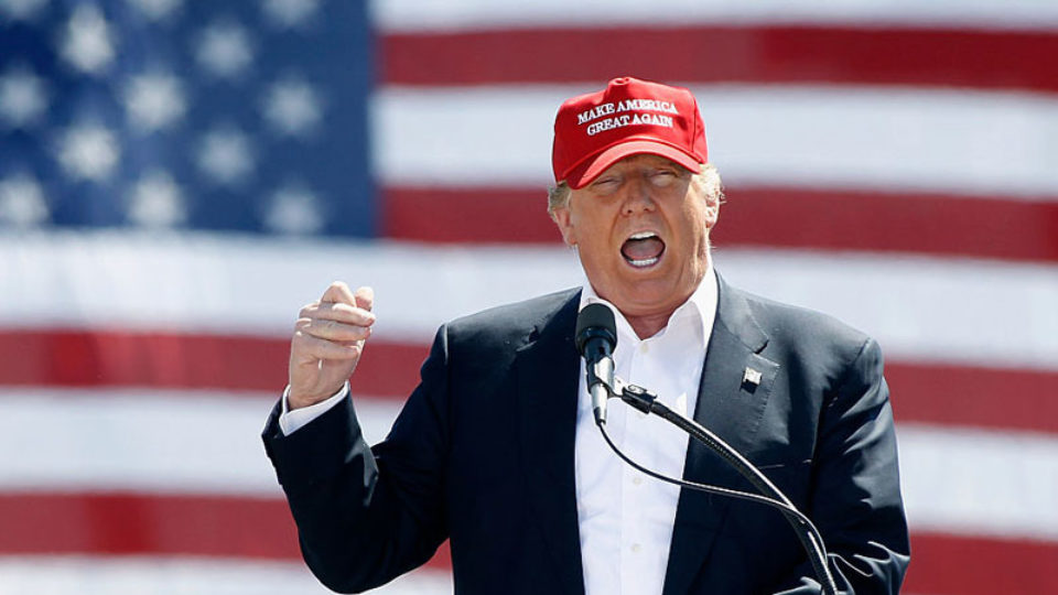 Donald Trump faces tough questions on delegate. Photo: Getty.