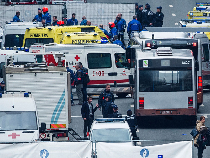 Emergency vehicles gather in a street near Maalbeek station. Photo: Getty
