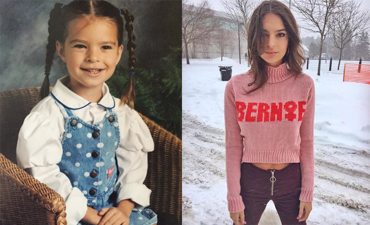 Ratajkowski as a child (left) and this year showing her support for Bernie Sanders. Photo: Instagram