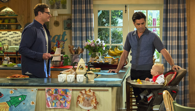 Bob Saget (left) and John Stamos do their best to keep the dream alive. Photo: Netflix