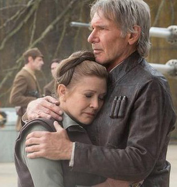 Han Solo embraces Princess Leia in 'Star Wars'.