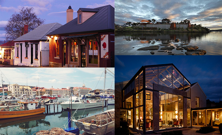 Clockwise from top left: Battery Point, the Museum of Old and New Art, The Islington Hotel and the Hobart waterfront where the Henry Jones Art Hotel is situated.