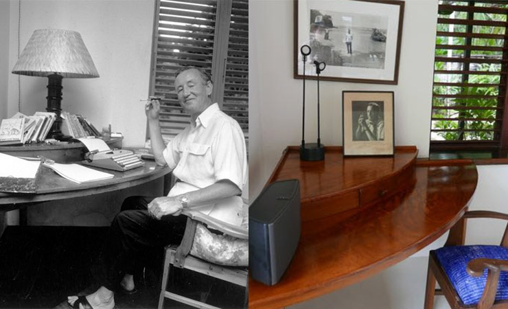 Fleming at his desk in Goldeneye (left). The desk is still in the villa today (right).