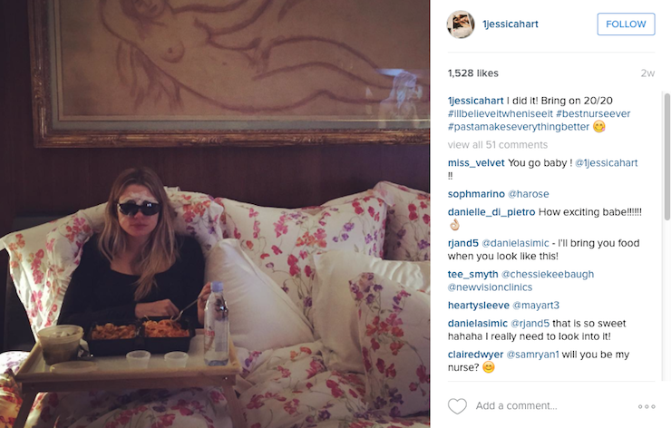 Jessica Hart recovers from her laser eye surgery in bed.