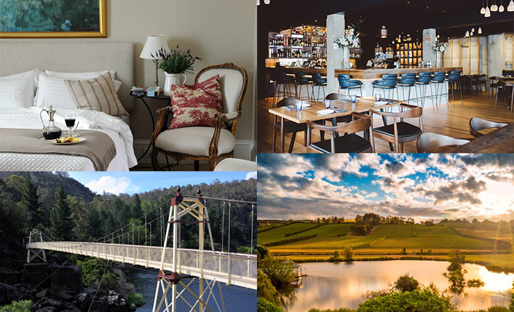 Clockwise from top left: a room at the Red Feather Inn, Geronimo Restaurant, Josef Chromy vineyard and the Alexandra suspension bridge at Cataract Gorge.