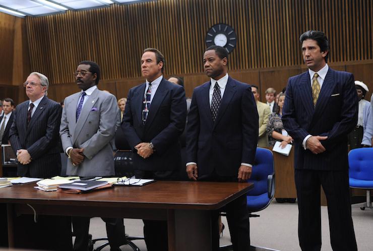 Nathan Lane as F. Lee Bailey, Courtney B. Vance as Johnnie Cochran, John Travolta as Robert Shapiro, Cuba Gooding, Jr. as O.J. Simpson, David Schwimmer as Robert Kardashian. Photo: Ray Mickshaw/FX