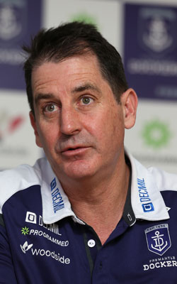 Ross Lyon is attempting to win his first flag with Fremantle. Photo: Getty
