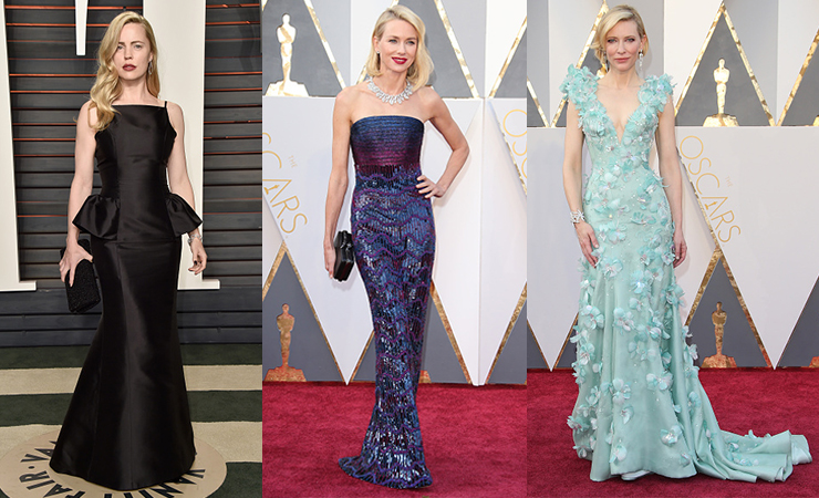 L-R: Australian actresses Melissa George, Naomi Watts and Cate Blanchett at the Oscars.