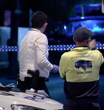 Police make inquiries on scene.