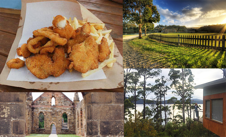 Clockwise from top left: fish and chips from Doo-lishus, Port Arthur Historic Site, Stewart's Bay Lodge, Port Arthur buildings.