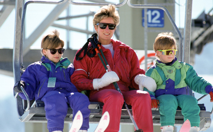 Princess Diana took young Harry and William skiing in 1992. Photo: Getty