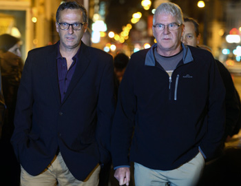 Survivors David Risdale and Phil Nagle arrive to hear evidence in Rome on Tuesday. Photo: Getty