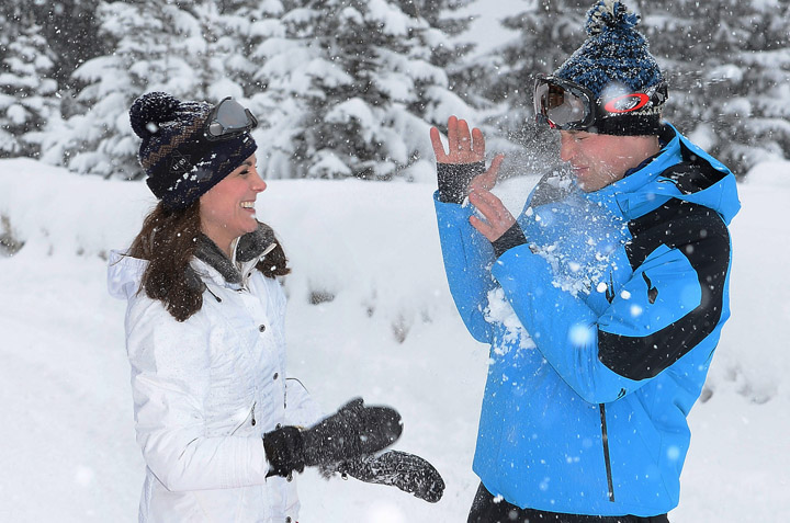 Princess Kate seemed to come off on top in a snowball fight.