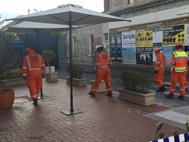 SES personnel on scene at Brunswick East.