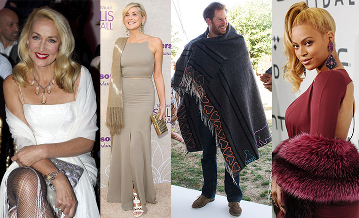 L-R: Jerry Hall, Sharon Stone, Prince Harry and Beyonce understand the transformative power of a good shawl. Photo: Getty