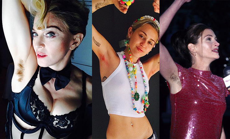 Madonna, Miley Cyrus and Julia Roberts show off their unshaven armpits. Photo: Getty