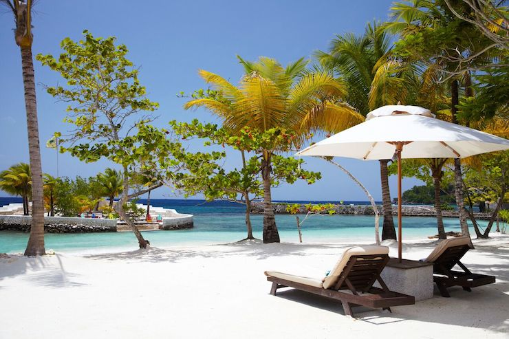 You can celebrity spot from the comfort of a lounge on Goldeneye's white-sand beach. Photo: Goldeneye
