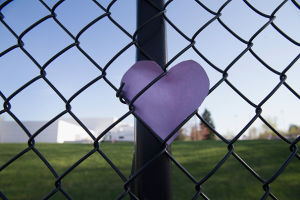 A small tribute outside Paisley Park. Photo: Getty