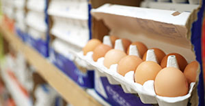 close-up of eggs in a supermarket