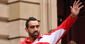 MELBOURNE, AUSTRALIA - SEPTEMBER 28: Adam Goodes of the Swans waves to the crowd during the 2012 AFL Grand Final Parade on September 28, 2012 in Melbourne, Australia. (Photo by Lucas Dawson/Getty Images)