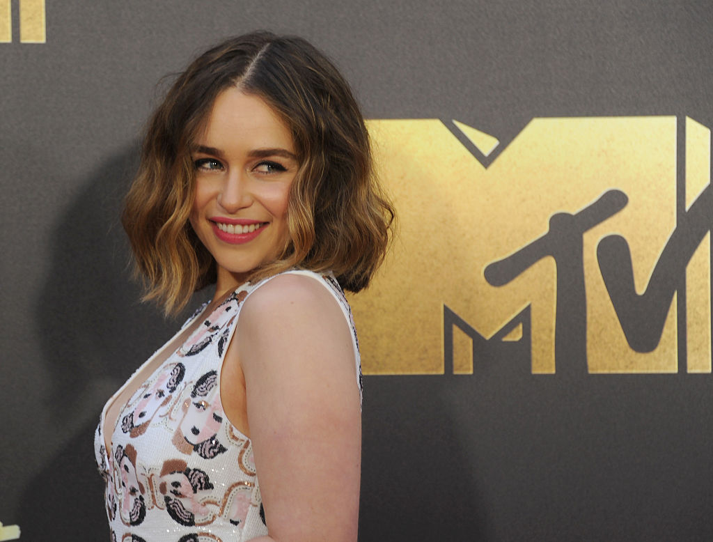 BURBANK, CALIFORNIA - APRIL 09: Actress Emilia Clarke arrives at the 2016 MTV Movie Awards at Warner Bros. Studios on April 9, 2016 in Burbank, California. (Photo by Gregg DeGuire/WireImage)