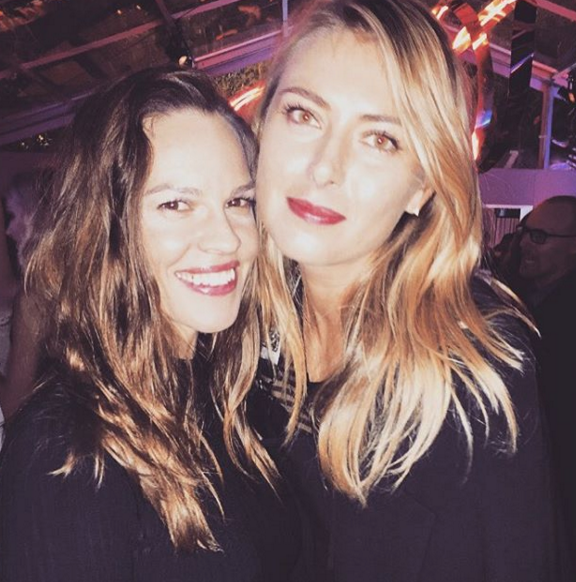 Sharapova with Hilary Swank. Photo: Instagram