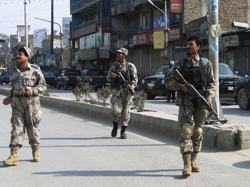 Afghan border police on patrol in Jalalabad.